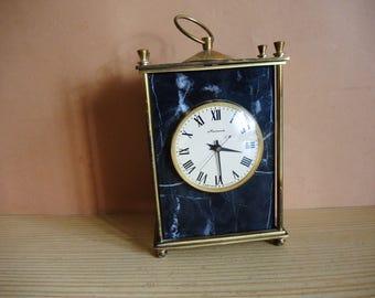 Soviet Table Mechanical  Clock MOLNIA in black natural stone case / Serviced Mantle Clock from Soviet era / Soviet Union USSR era 1970