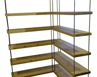 industrial rustic pine hairpin shop display corner shelving unit