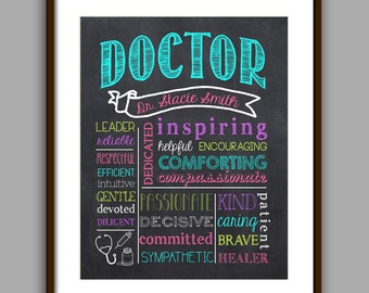 Doctor Gift, Doctor Graduate Gift, Doctor Appreciation Gift, Thank you Doctor, color chalkboard Style Printable