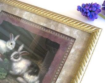 Gold Framed Art Print BUNNIES • Vintage Signed K. Davis • Gilt Rope Trim Wood Glass Frame • Two Rabbits Naturalist Hunting Print Style