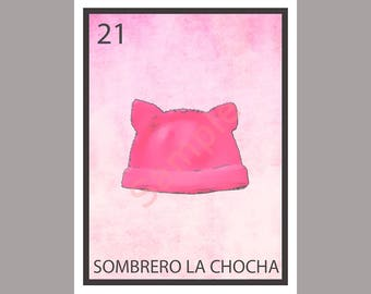 Sombrero La Chocha - Political Loteria Card - Pussy Hat - Anti-Trump Greeting Card Art - Donation to ACLU