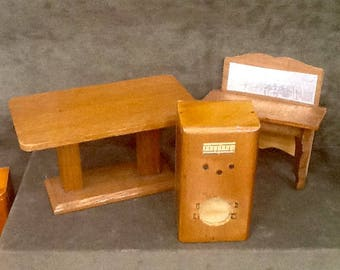 3 Pieces of Vintage 3/4 Inch Scale Furniture circa 1930