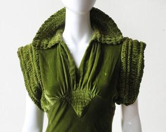 ON LAYAWAY.  RESERVED.  Unbelievable 1930's Absinthe Silk Velvet Deco Gown