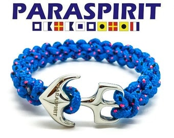 "Paraspirit ""SKIPPER"" Nautical Rope Bracelet with Stainless Steel Anchor Clasp"