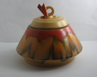 ROSENTHAL Bavaria N. Ceramic chocolate box / Bonboniere / lidded box / confectionery box in ART DÉCO style. Running glazing. Vintage