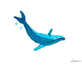 The Whale Watercolour Illustration Print