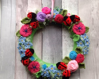 Summer  wreath, knitted flowers and ladybirds ,  wedding, nursery, new home forget me nots  ladybugs, summer wreath, door hanging , spring