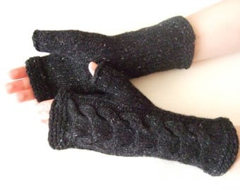 Knitted of 100% CASHMERE. Especially soft ANTHRACITE fingerless gloves, wrist warmers, fingerless mittens. Handmade. Cable gloves.