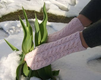 Knitted of COTTON and acrylic. Light PINK fingerless gloves, fingerless mittens, wrist warmers. Suitable for VEGANS. Handmade.