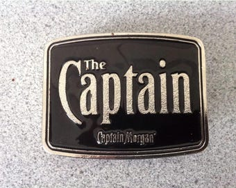 Vintage Metal Black and Silver Color The Captain Morgan Big Belt Buckle for Men. Mens Accessories