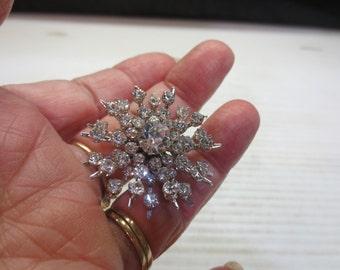 Vintage Snowflake Brooch With Sparkly Rhinestones