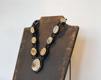 Textured Statement Necklace - Tibetan Beads - Long Classic Statement Chunky Jewelry - Brown Black White Circular