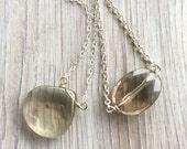 Smooth Faceted Smokey Quartz Pendant in a Sterling Silver Chain Handmade Custom Stone Necklace