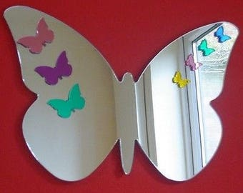 Butterflies on Butterfly Big Wings Mirror - Silver, Pink or Mixed in several sizes
