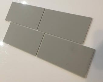 "Light Grey Mat Acrylic Rectangle Crafting Mosaic & Wall Tiles, Sizes: 1cm to 25cm -  1"" to 10"""