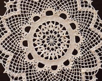 """15"""" Round Cream Doily, handmade crochet"""