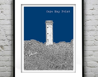 Cape May Point New Jersey Poster Print Art NJ Shore Skyline Version 1