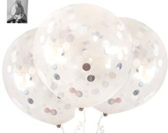 3 x 45cm, silver balloons, confetti balloons. silver confetti,, helium balloon, jumbo balloon, metallic foil, clear balloons, baby shower