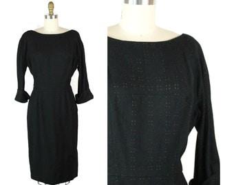 1950s Black Peekaboo Wool Dress / 50s Vintage Winter Dress with Dolman Sleeves