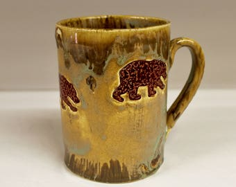 X-Large Bear Mug in Rustic Forest Brown Gold, Handmade Ceramic Pottery Coffee Cup