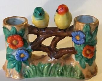 Vintage Lusterware Birds on Log Fence Vases at Ends Porcelain Made in Japan Red Letter