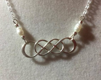 Sterling Silver Necklace 925 Celtic Knot Pearl #171016