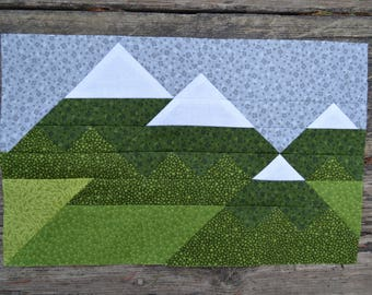 Mountain Range Quilt BLOCK Pattern, PDF, Instant Download, modern patchwork, forest, woodland, majestic