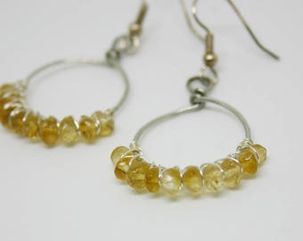 Handcrafted Wire Wrapped Citrine gemstone bead Earrings, Citrine Earrings