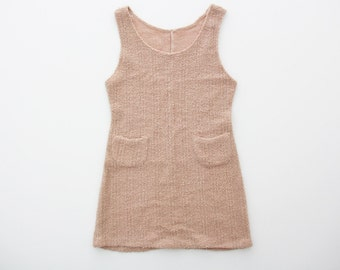 Vintage Romper Dress // 1970s Blush Fuzzy Jumper // Powder Pink Dress With Pockets