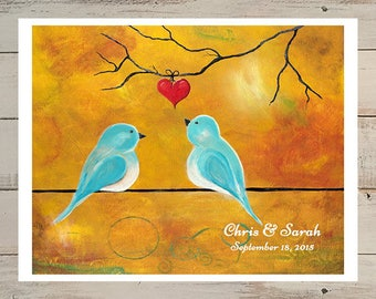 Wedding Gift for Couple 1st Anniversary Gift Personalized Gift Bird Print from Original Painting Love Bird Print Paper Gift Print Love Print