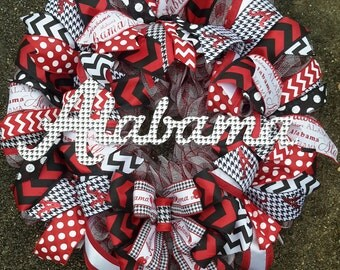 Sale Red White Black Alabama Deco Mesh and Houndstooth Polka Dot Ready to Ship Wreath reg. 60.00 now 48.00