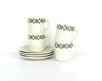 Espresso cups, espresso cups set, floral espresso cups, vintage espresso cups, small coffee cups, vintage patterned cups