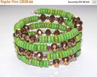 20%OFF Green Magnesite and Metallic Copper Wrap Bracelet