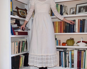 Victorian White Cotton Crocheted Dress