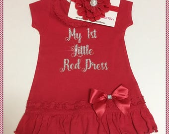 My First Little Red Dress With Flower Headband; Sizes Available 6 Months, 12 Months, 18 Months, 24 Months