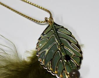 Green Glow in the Dark Gold Plated Leaf Pendant