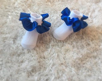 Royal blue satin ruffle socks, royal blue ruffle socks