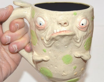 Grouchy Morning Mug with bum on backside. Handsculpted stoneware signed J Cotton One of a kind - Aprox 16 oz