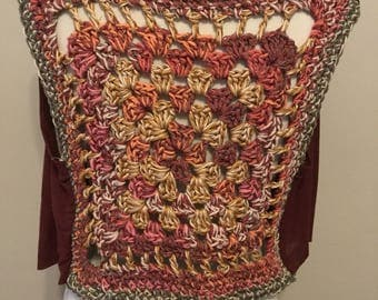 Leona Vest- marroon, gold, pink