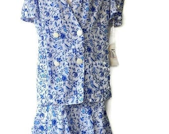 Tiered Ruffle Dress Two Piece White with Blue Flowers With Tags Size 10