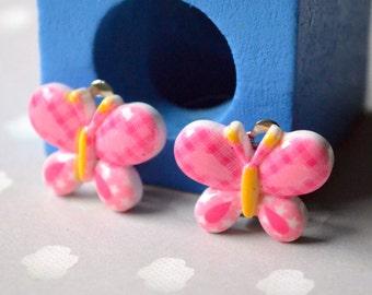 Pink butterfly clips earrings