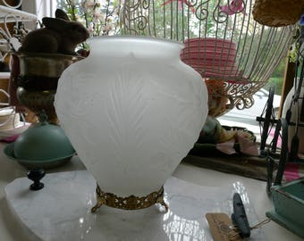 Frosted embossed vase with brass base