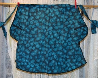 Homemade Turquoise and Black Print Apron 22″ Front, 2 Pockets, Never used