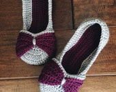 Womens Bow Slippers - purple and gray double-sole bow slippets - crochet shoes
