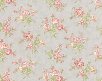 Moda Whitewashed Cottage Pebble Medium Floral 3 Sister's Gray Shabby Fabric BTY 1 Yd