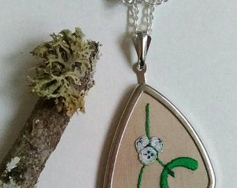 Hand embroidered mistletoe pendant