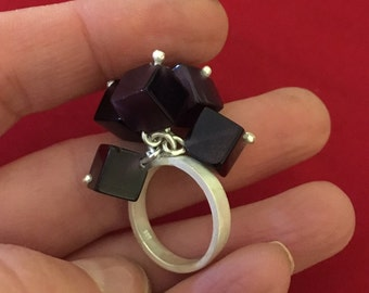 Sterling Silver Plum Cube Kinetic Ring