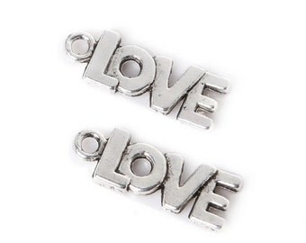 Silver Love Charms (x10)