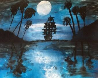 Spray Paint Art Seascape Pirate Ship