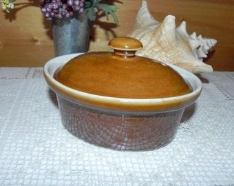 Brown Oval Casserole Lidded Dish, Shenango New Castle Pottery Bake Ware